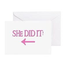 SHE DID IT! (left) Greeting Cards (Pk of 10)