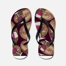 Wine Lover Wood Board Flip Flops