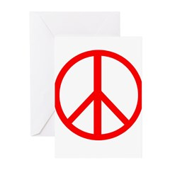 Peace Red Greeting Cards (Pk of 10)