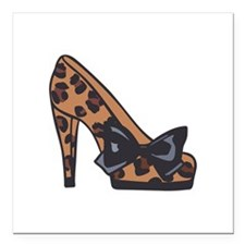"LEOPARD PRINT SHOE Square Car Magnet 3"" x 3"""