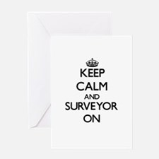 Keep Calm and Surveyor ON Greeting Cards