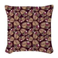 Wine Lover Wood Board Woven Throw Pillow