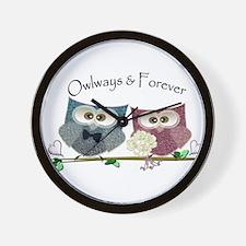 Owlways & Forever Cute Owls art Wall Clock
