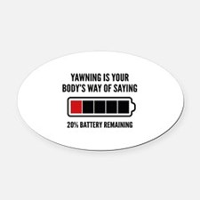 Yawning Oval Car Magnet