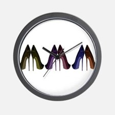 Pretty Shoes All In A Row Wall Clock