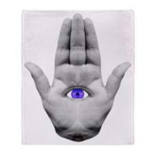 hamsa hand purple Throw Blanket