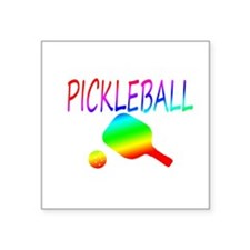 Pickleball with ball and paddle sport Sticker