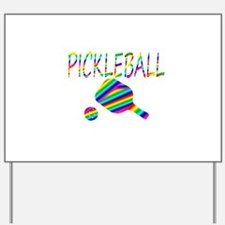Pickleball with ball and paddle sport Yard Sign