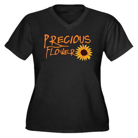 Precious Flower Women's Plus Size V-Neck Dark T-Sh