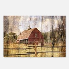 farm red barn wood textur Postcards (Package of 8)