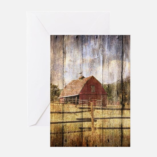 farm red barn wood texture Greeting Cards