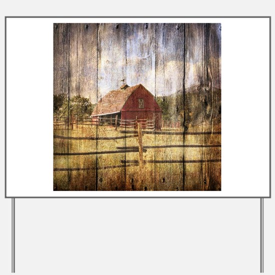 farm red barn wood texture Yard Sign