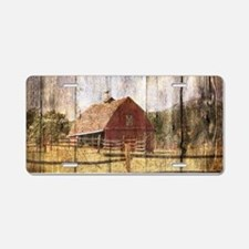 farm red barn wood texture Aluminum License Plate