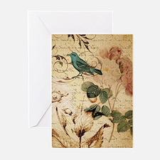 vintage rose bird paris french bota Greeting Cards