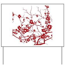 modern zen artistic red plum flower flor Yard Sign