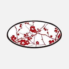 modern zen artistic red plum flower floral Patches