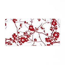 modern zen artistic red plu Aluminum License Plate