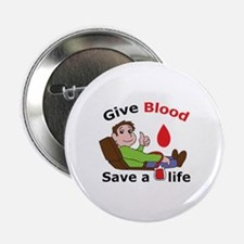 "GIVE BLOOD SAVE LIFE 2.25"" Button (10 pack)"