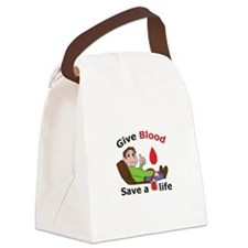 GIVE BLOOD SAVE LIFE Canvas Lunch Bag