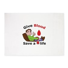 GIVE BLOOD SAVE LIFE 5'x7'Area Rug
