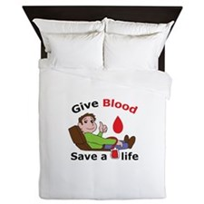GIVE BLOOD SAVE LIFE Queen Duvet