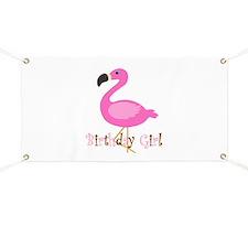Birthday Girl Flamingo Banner
