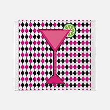 Pink Cocktail on Black White Diamond Throw Blanket