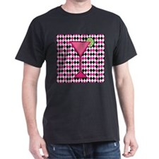 Pink Cocktail on Black White Diamond T-Shirt