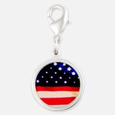 Red White Blue Abstract Silver Round Charm