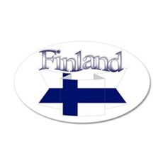 Finnish flag ribbon 35x21 Oval Wall Decal