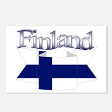 Finnish flag ribbon Postcards (Package of 8)
