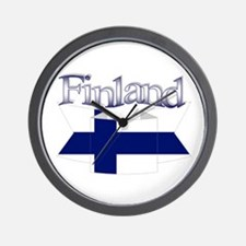 Finnish flag ribbon Wall Clock