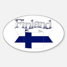 Finnish flag ribbon Sticker (Oval)