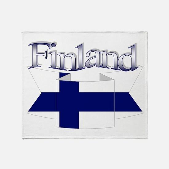 Finnish flag ribbon Throw Blanket