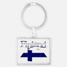 Finnish flag ribbon Landscape Keychain