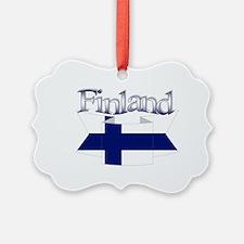 Finnish flag ribbon Ornament