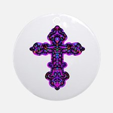 Ornate Cross Ornament (Round)