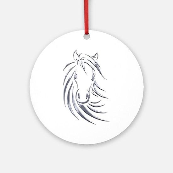 Silver Design Horse Head Ornament (Round)