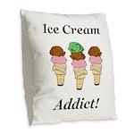 Ice Cream Addict Burlap Throw Pillow