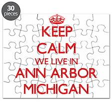 Keep calm we live in Ann Arbor Michigan Puzzle