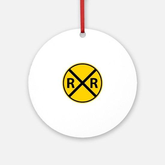 Railroad Crossing Ornament (Round)
