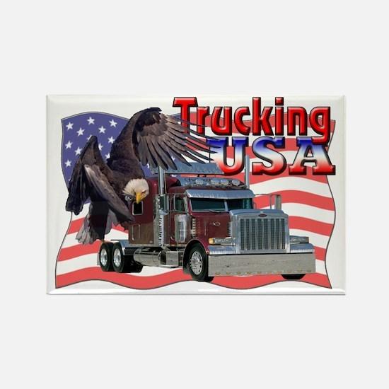 Trucking USA Rectangle Magnet