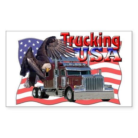 Trucking USA Rectangle Sticker