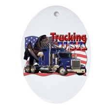 Trucking USA Oval Ornament