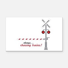 Chasing Trains! Rectangle Car Magnet
