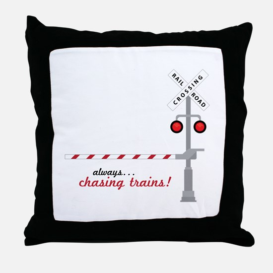Chasing Trains! Throw Pillow