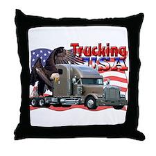 Trucking USA Throw Pillow