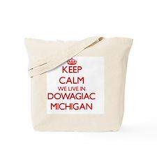 Keep calm we live in Dowagiac Michigan Tote Bag