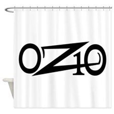 OZ10 Moto Race Decal Black Shower Curtain