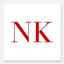 """NK-bod red2 Square Car Magnet 3"""" x 3"""""""